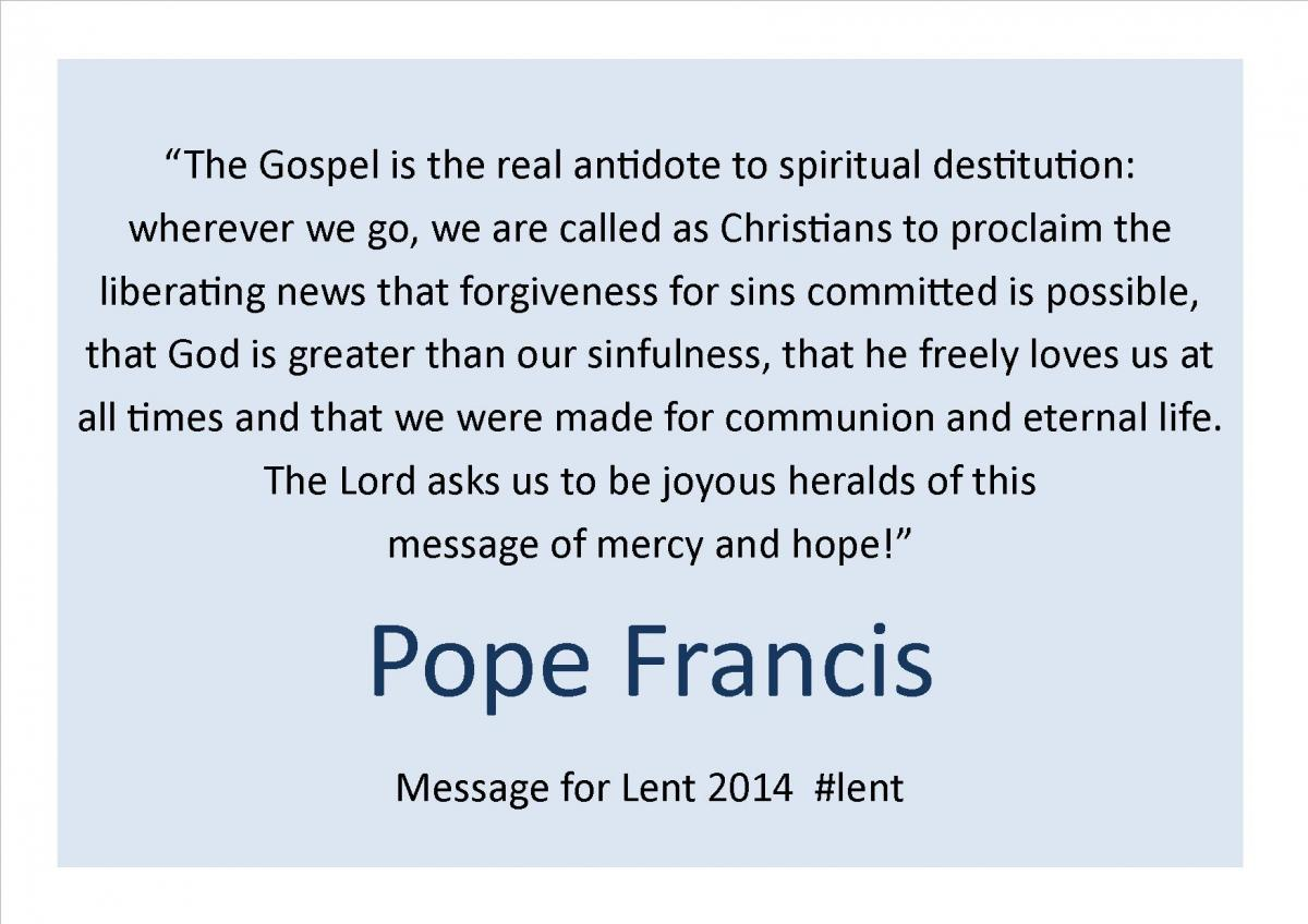 Lent quote from Pope Francis 2014